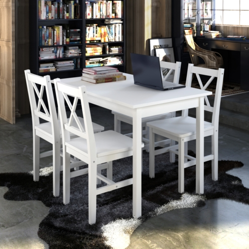 Tabla de madera con 4 sillas de madera de muebles blancos