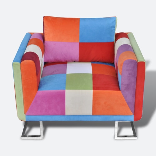 Patchwork Cube Chair with Chrome Feet