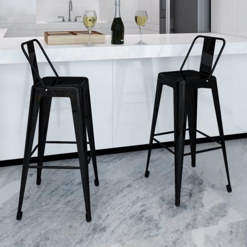 Silla de la barra asientos para bebes Plaza de los taburetes de barra 2 PC Volver Negro