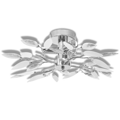 Deckenleuchte White & Transparent Acryl Kristallblatt Arme 3 E14 Birnen