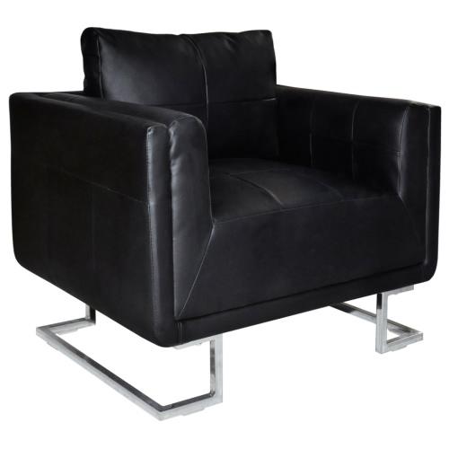 Luxury Cube Leather Armchair High Quality Black Chrome Feet