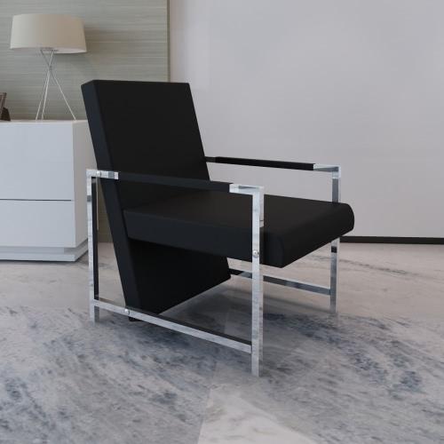 Cube Relax poltrona nera con piedi cromo di alta qualità