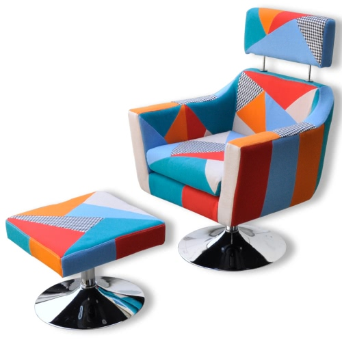 Home TV Armchair Fabric Patchwork Adjustable With Foot Stool