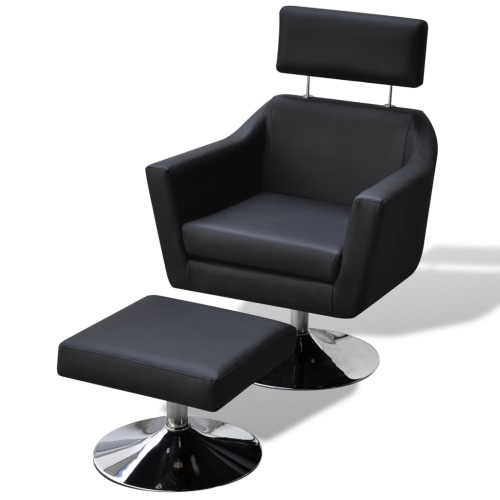 Home TV Armchair Artificial Leather Adjustable With Foot Stool Black