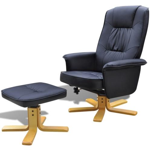 241035 TV-Sessel Lehnstuhl Kunstleder schwarz mit Fußstützen