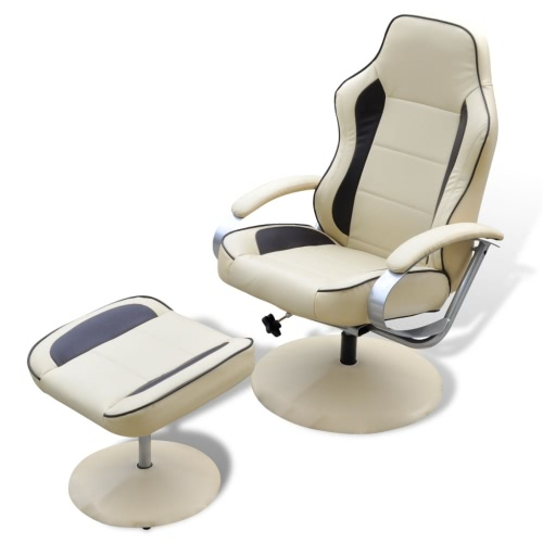 TV Armchair Recliner Artificial Leather Cream and Brown with Footrest