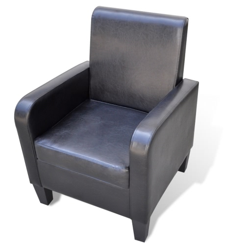 Upholstered Modern Armchair Artificial Leather Black