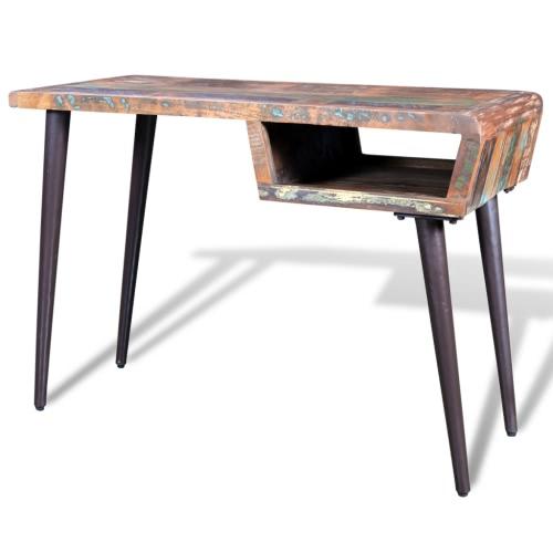 Regenerada escritorio de madera con patas de hierro
