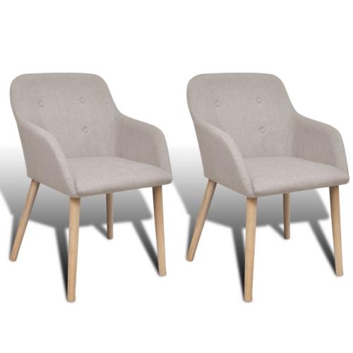 Oak coperta tessuto Dining Chair Set 2 pezzi con bracciolo Beige