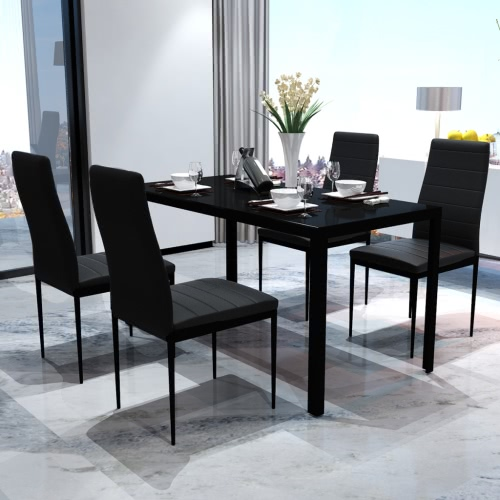 Dining Table with 4 Chairs Model Contemporary Black