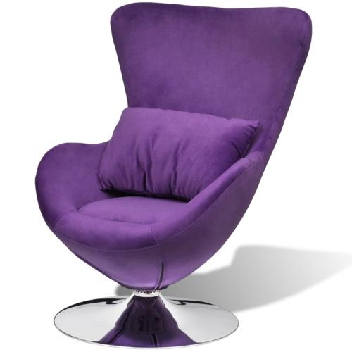 Silla púrpura pequeño huevo giratorio con el amortiguador