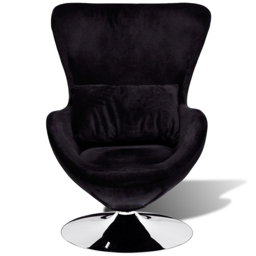 Small Black Egg Swivel Chair with Cushion