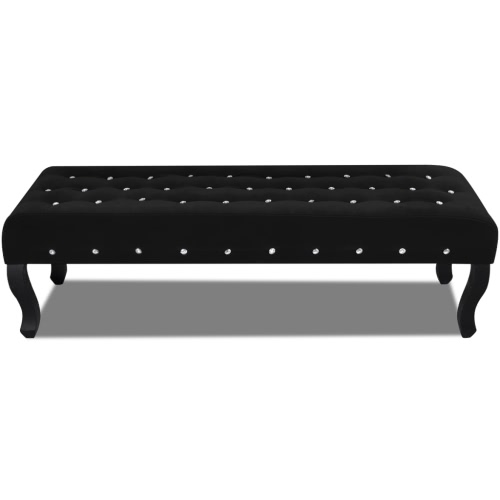Bench in Black Velvet with Crystal Buttons