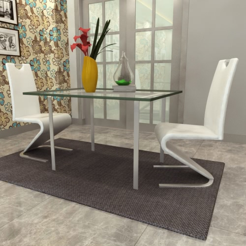 Blanco de la silla cantilever de cuero artificial con forma de U del pie juego de 2