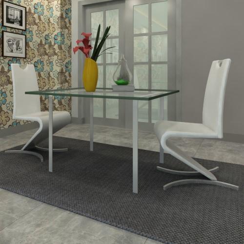 Blanco de la silla cantilever de cuero artificial con forma de H Pie juego de 2