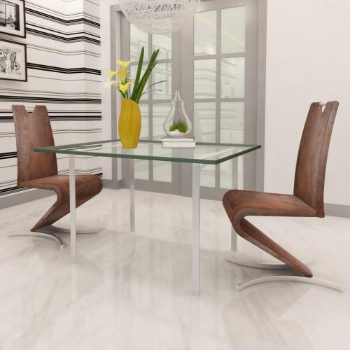 Brown sedia cantilever artificiale in pelle con a forma di H messo piede su 2