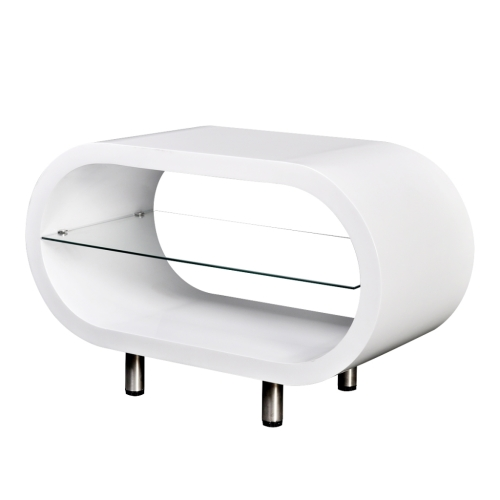 Coffee Table Coffee Bright White / Support TV Oval