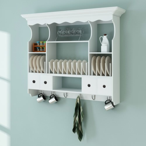Bianco parete di legno armadio da cucina