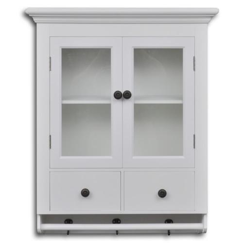 Wandschrank für Küche, weißes Holz, mit Glastür