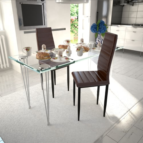 2 Stück Brown Slim Line Dining Chair