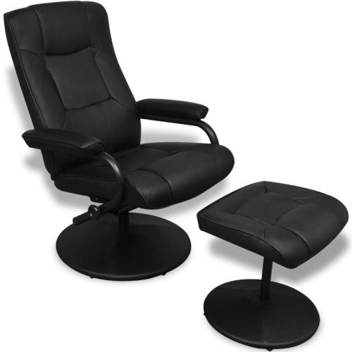 Schwarz-Kunstleder-TV Sessel mit Fuß Hocker