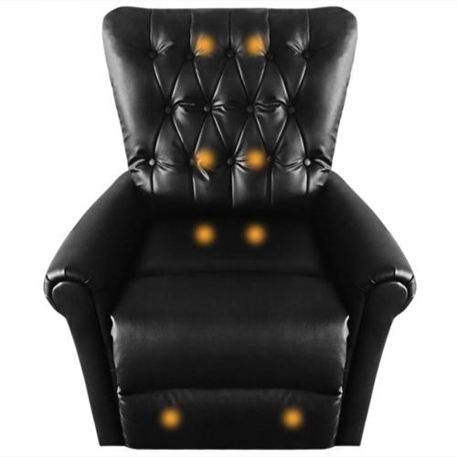 Poltrona reclinabile massaggio pelle nera artificiale elettrico