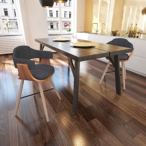 2 pezzi pasti sedia in legno curvato con tessuto Rivestimento