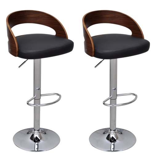 2 pcs Curved Wooden Bar Stool with Adjustable Back