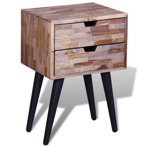 Mesa de noche con 2 cajones de madera de teca reciclada