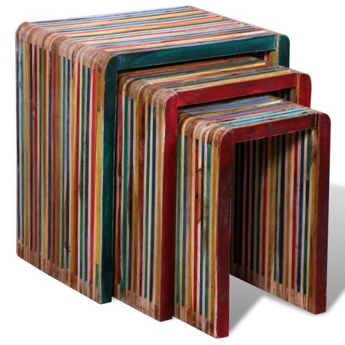 Mesas nido de madera de teca Reciclada colorido juego de 3