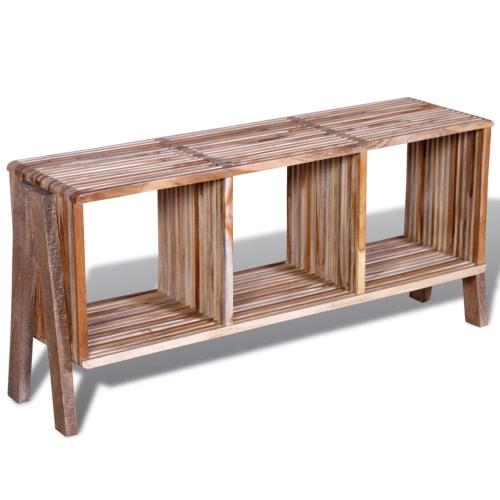 mueble de televisión con tres estantes de madera de teca apilable de madera antigua