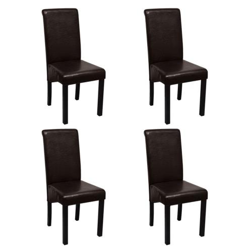 Cena la silla de cuero artificial de Brown Conjunto de 4