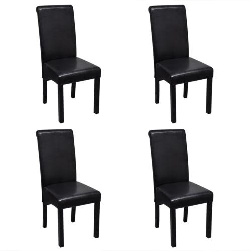 Chaise en cuir artificiel noir Lot de 4