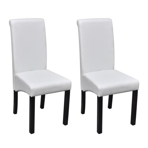 Cena la silla de cuero artificial blanca juego de 2