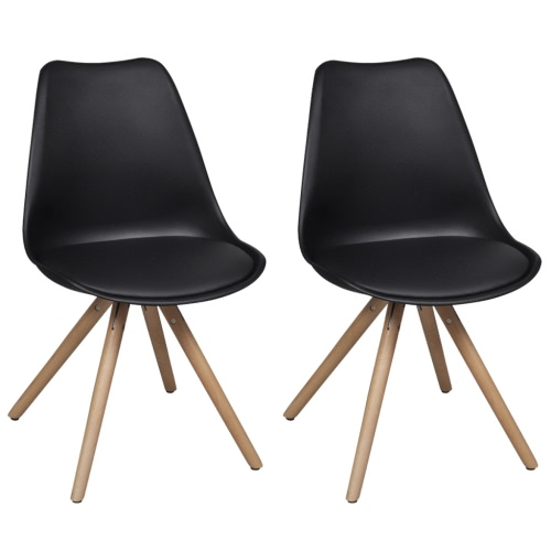 2 pcs Black Artificial Leather Dining Chairs
