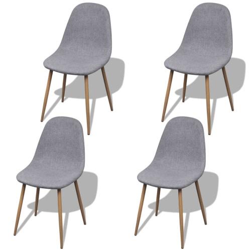 4 Los Sillas de armas sin la tela de color gris claro con patas de hierro