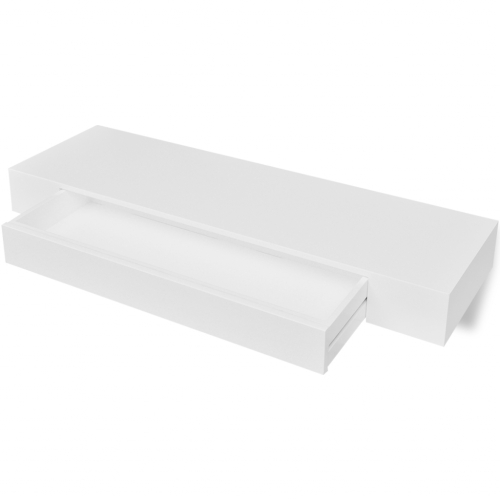 Shelf for walls with drawer, White MDF for Books / DVD