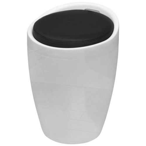White Round ABS Stool with Black Removable Seat