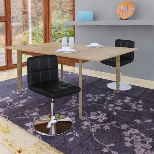 2 Altura ajustable de restauración sillas giratorias con respaldo Negro