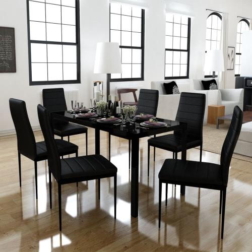 Juego de comedor de 6 sillas negras + 1 mesa de diseño contemporáneo
