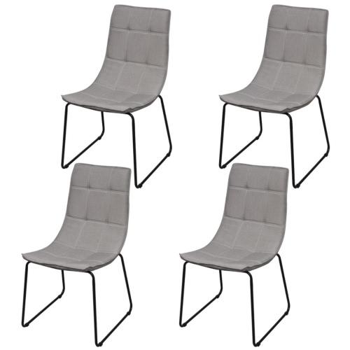4 Sillas de comedor piernas de hierro gris claro