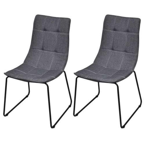 2 Dark Gray Chairs in Iron Legs