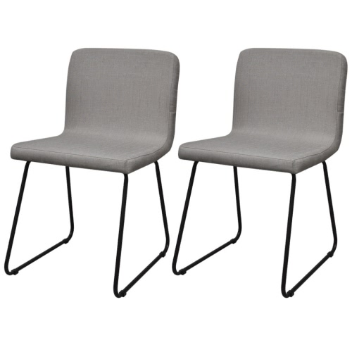 2 Chairs in Light Gray Fabric Iron Legs