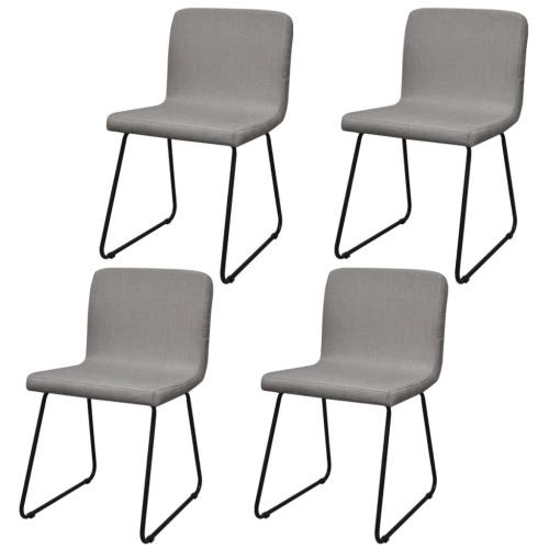 4 Sillas de comedor Tela Piernas de hierro gris claro