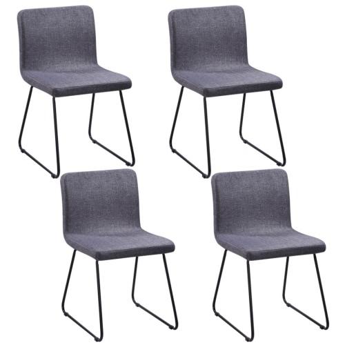 4 Sillas de comedor Tela Gris oscuro piernas de hierro