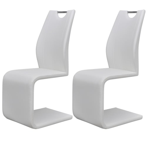 2 White Artificial Leather Cantilever Dining Chairs with Handle