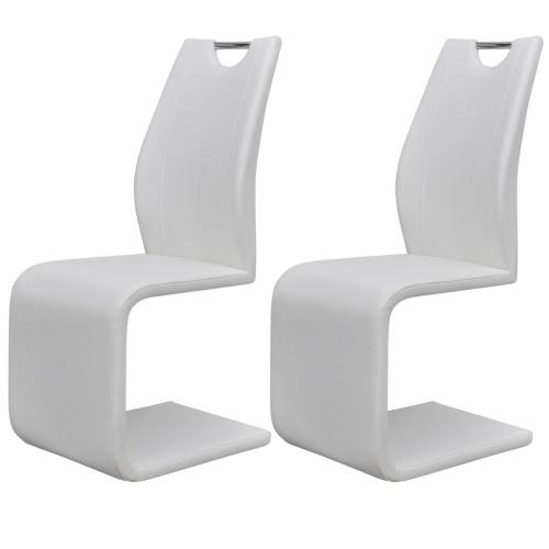 2 White-Kunstleder-Cantilever Esszimmerstühle mit Griff