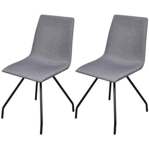2 Tejido Sillas de comedor con patas de hierro gris claro