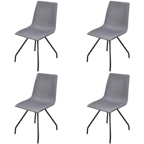 4 de telas Cenando sillas con patas de hierro gris claro