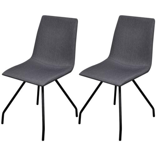 2 Tejido Sillas de comedor con patas de hierro gris oscuro